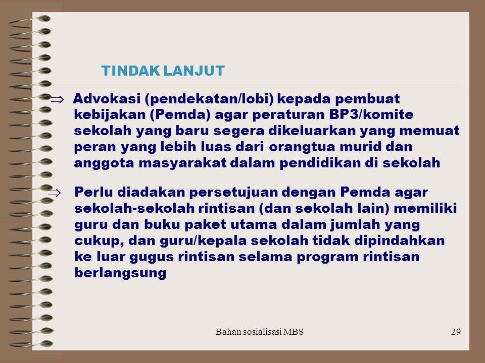 kebijakan (Pemda) agar peraturan BP3/komite