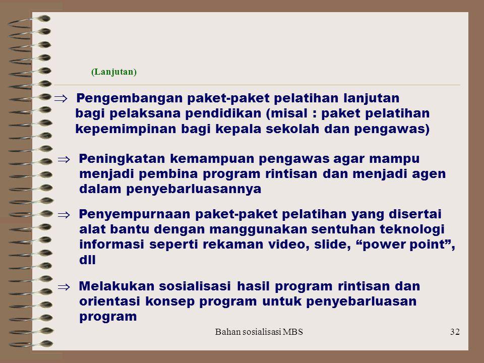 bagi pelaksana pendidikan (misal : paket pelatihan