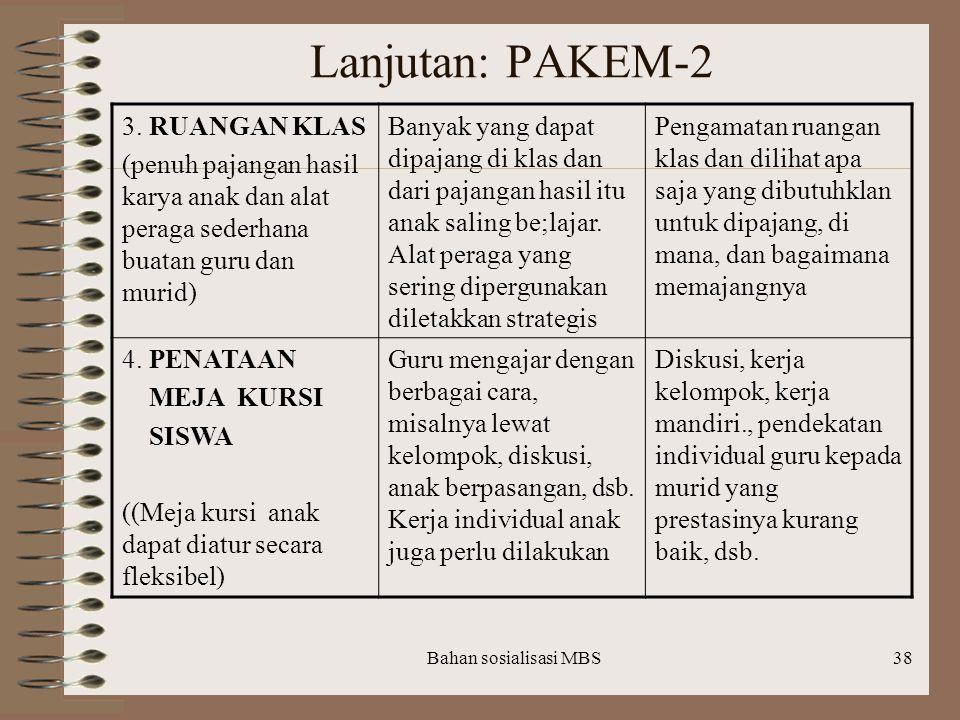 Lanjutan: PAKEM-2 3. RUANGAN KLAS