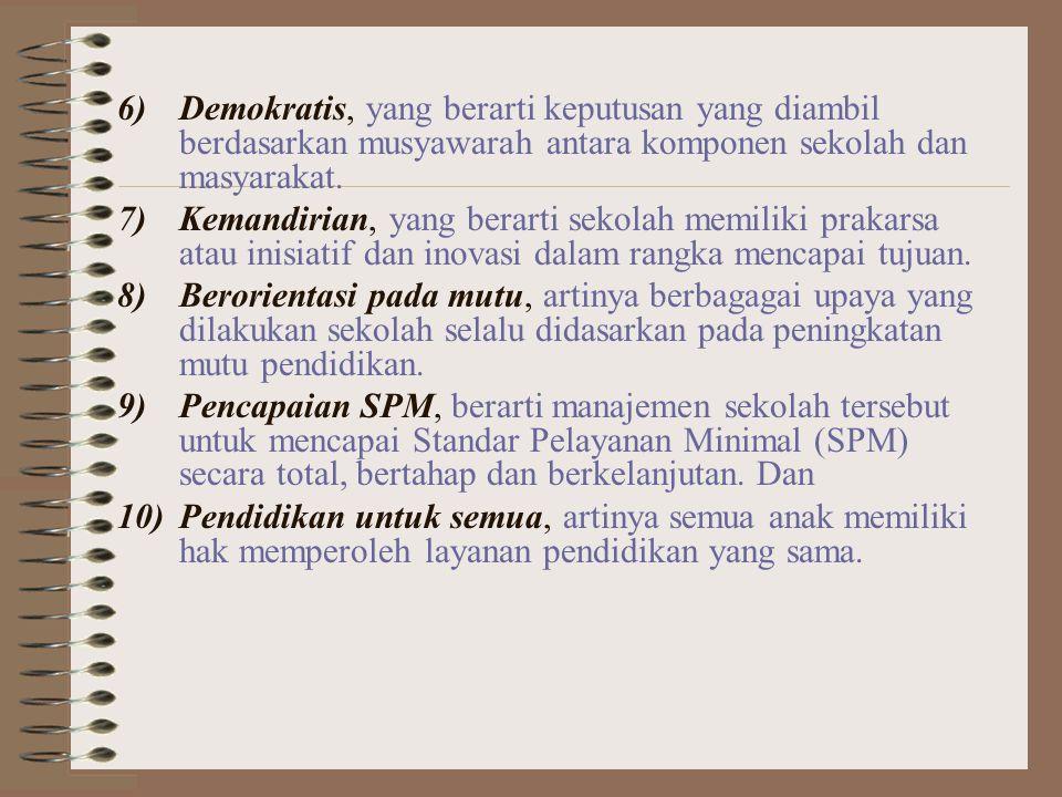 Demokratis, yang berarti keputusan yang diambil berdasarkan musyawarah antara komponen sekolah dan masyarakat.