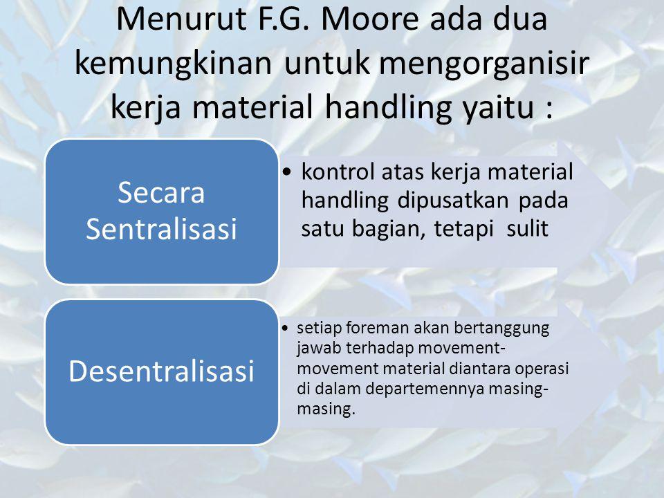 Menurut F.G. Moore ada dua kemungkinan untuk mengorganisir kerja material handling yaitu :