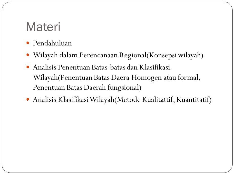 Materi Pendahuluan. Wilayah dalam Perencanaan Regional(Konsepsi wilayah)