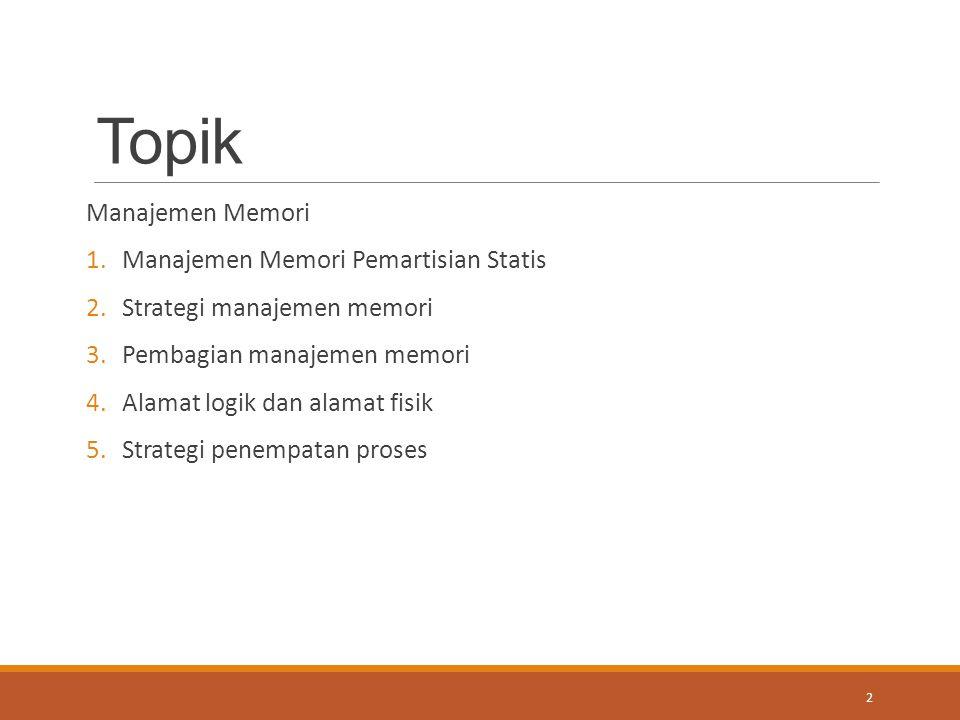 Topik Manajemen Memori Manajemen Memori Pemartisian Statis