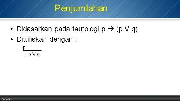 Penjumlahan Didasarkan pada tautologi p  (p V q) Dituliskan dengan :