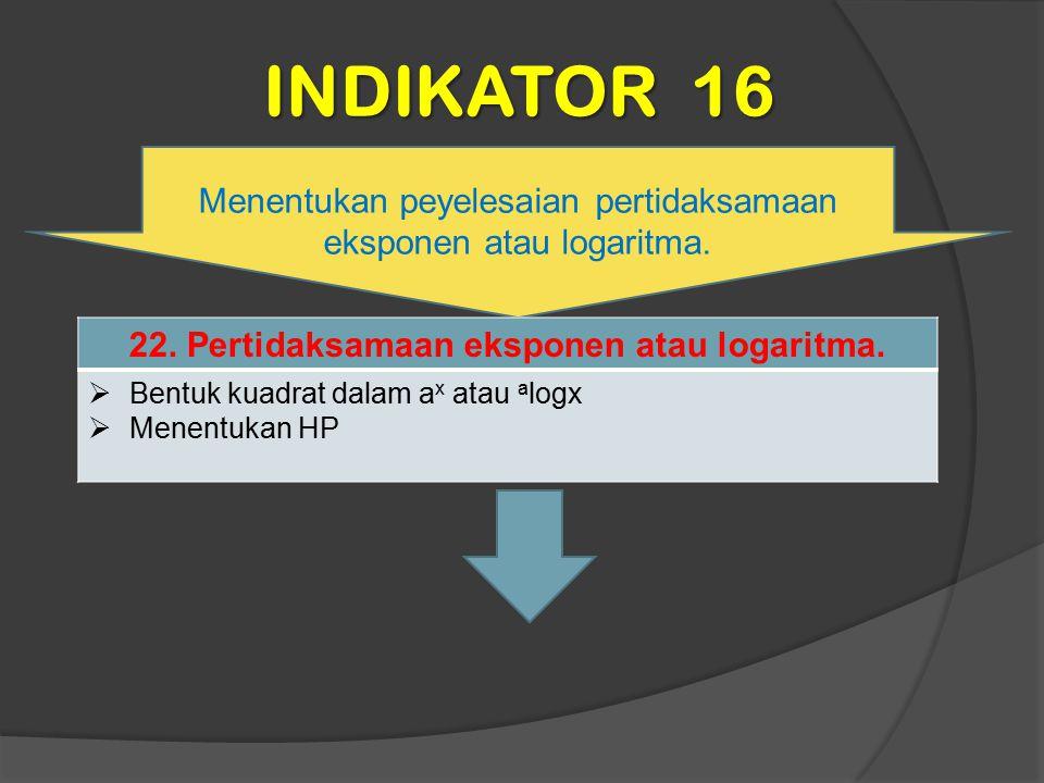22. Pertidaksamaan eksponen atau logaritma.