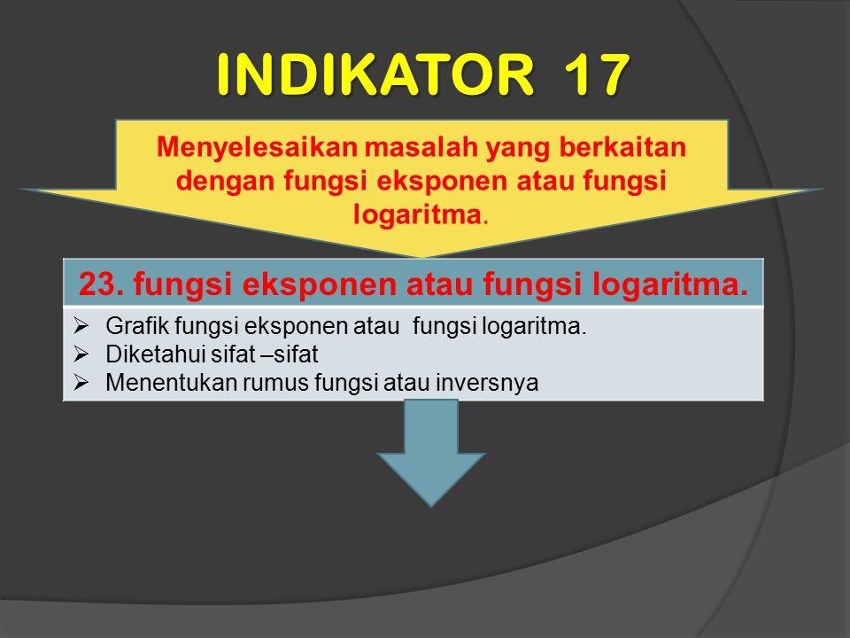 23. fungsi eksponen atau fungsi logaritma.