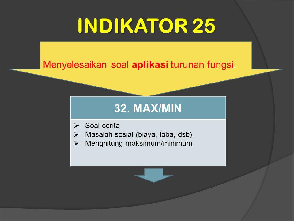 INDIKATOR 25 32. MAX/MIN Menyelesaikan soal aplikasi turunan fungsi.