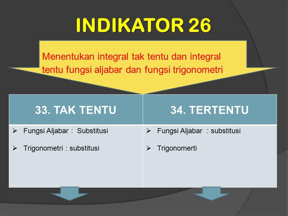 INDIKATOR 26 33. TAK TENTU 34. TERTENTU