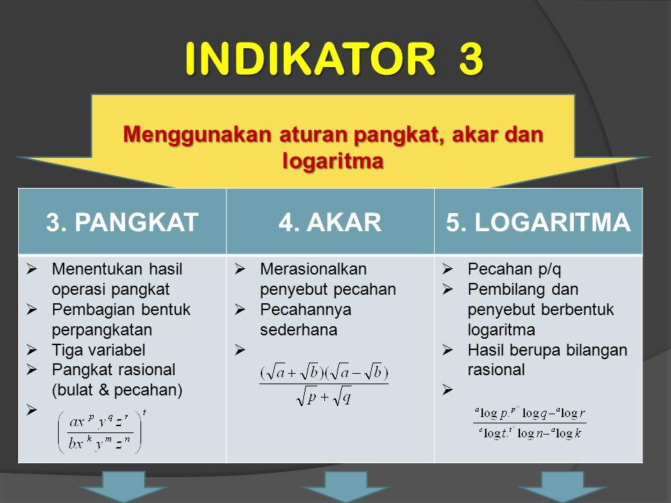 Menggunakan aturan pangkat, akar dan logaritma