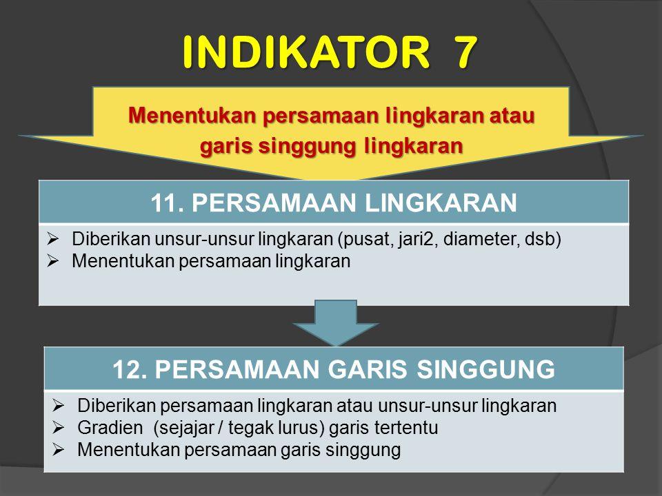 INDIKATOR 7 11. PERSAMAAN LINGKARAN 12. PERSAMAAN GARIS SINGGUNG