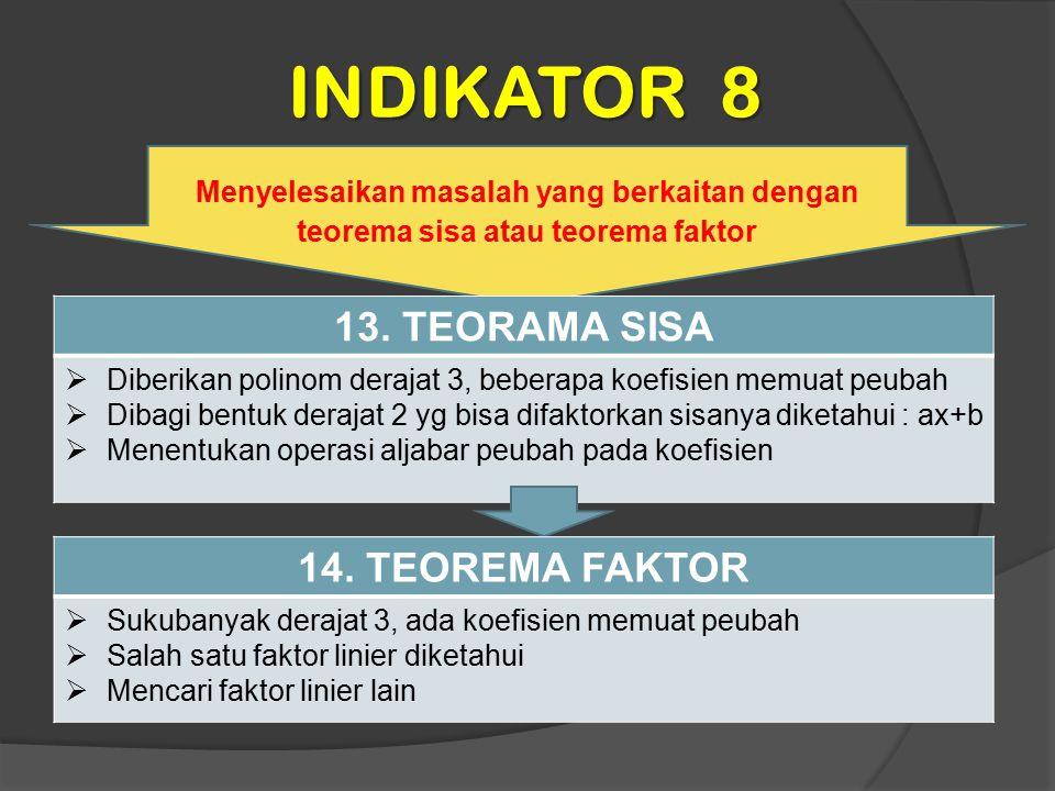 INDIKATOR 8 13. TEORAMA SISA 14. TEOREMA FAKTOR