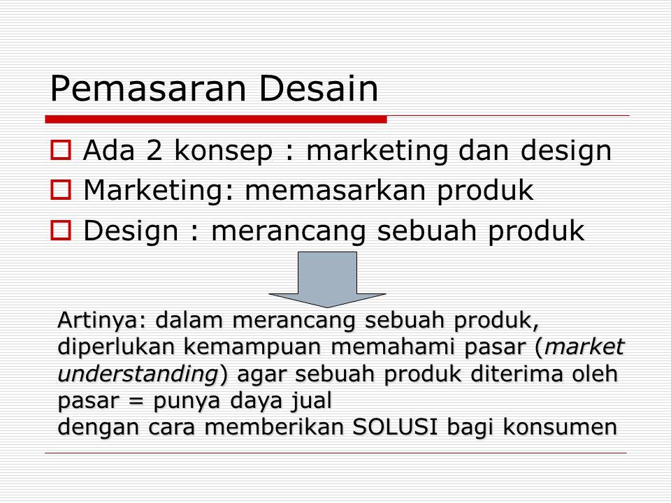 Pemasaran Desain Ada 2 konsep : marketing dan design