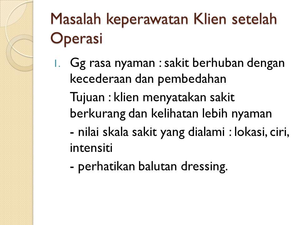 Masalah keperawatan Klien setelah Operasi