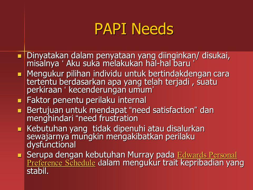 PAPI Needs Dinyatakan dalam penyataan yang diinginkan/ disukai, misalnya ' Aku suka melakukan hal-hal baru '