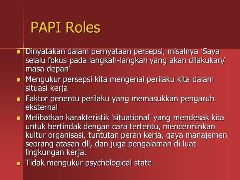 PAPI Roles Dinyatakan dalam pernyataan persepsi, misalnya 'Saya selalu fokus pada langkah-langkah yang akan dilakukan/ masa depan'