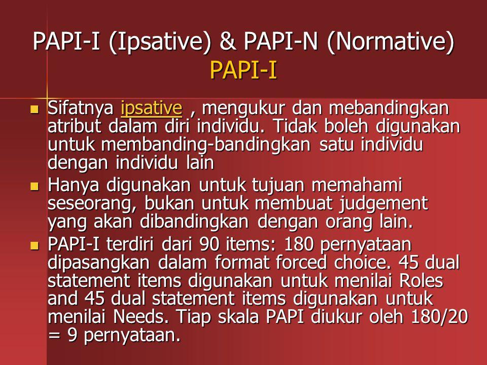 PAPI-I (Ipsative) & PAPI-N (Normative) PAPI-I