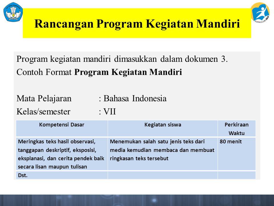 Rancangan Program Kegiatan Mandiri