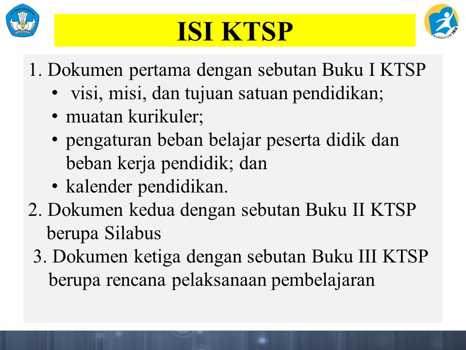 ISI KTSP 1. Dokumen pertama dengan sebutan Buku I KTSP