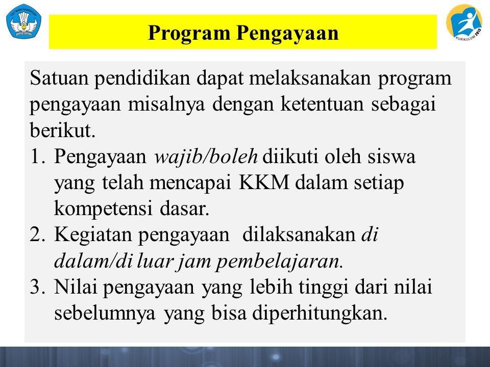 Program Pengayaan Satuan pendidikan dapat melaksanakan program pengayaan misalnya dengan ketentuan sebagai berikut.