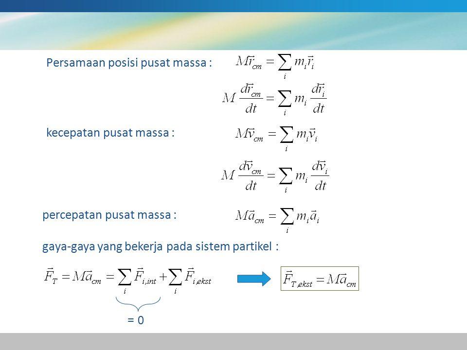 Persamaan posisi pusat massa :