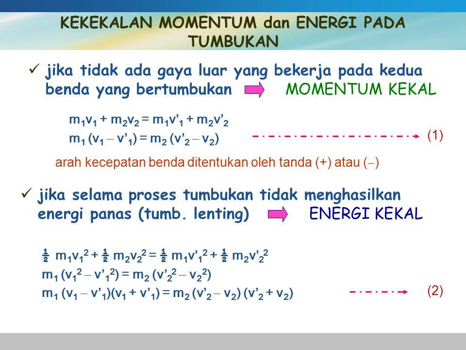 KEKEKALAN MOMENTUM dan ENERGI PADA TUMBUKAN
