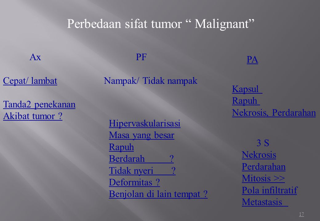 Perbedaan sifat tumor Malignant