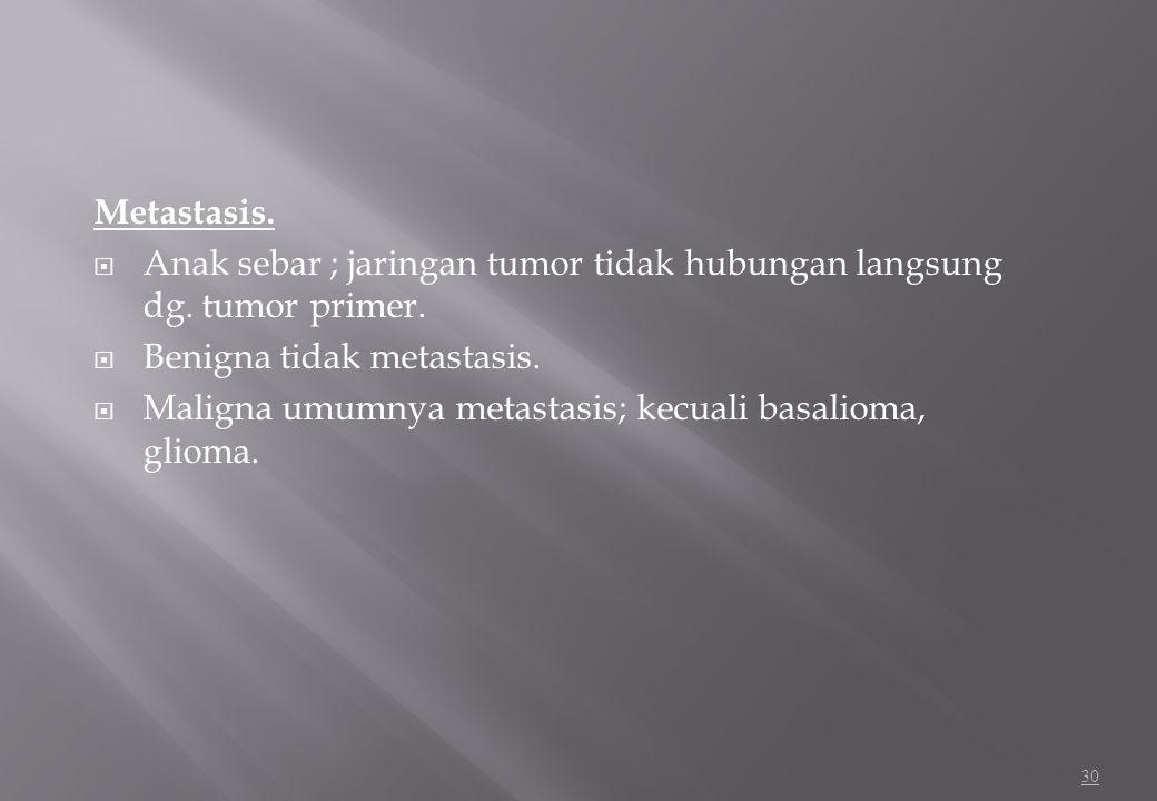 Metastasis. Anak sebar ; jaringan tumor tidak hubungan langsung dg. tumor primer. Benigna tidak metastasis.