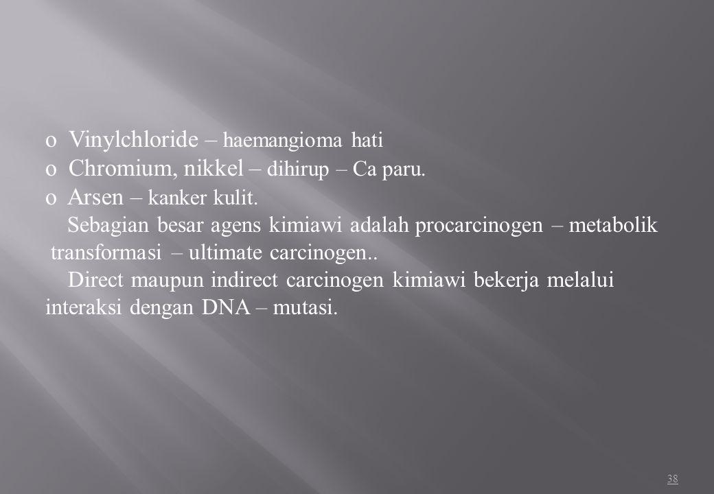 Vinylchloride – haemangioma hati Chromium, nikkel – dihirup – Ca paru.
