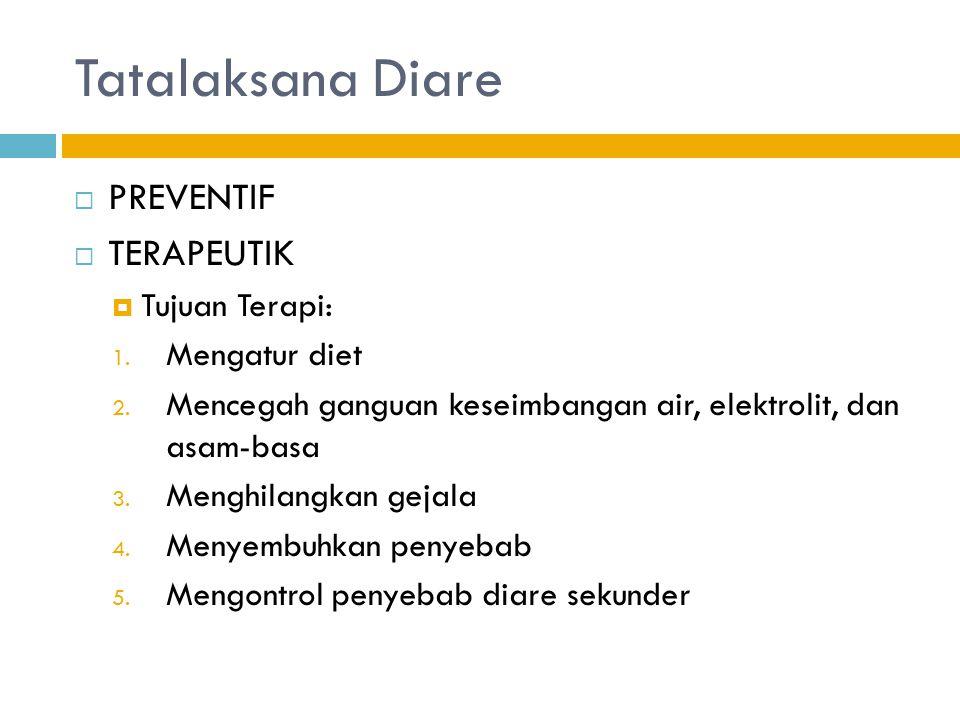 Tatalaksana Diare PREVENTIF TERAPEUTIK Tujuan Terapi: Mengatur diet