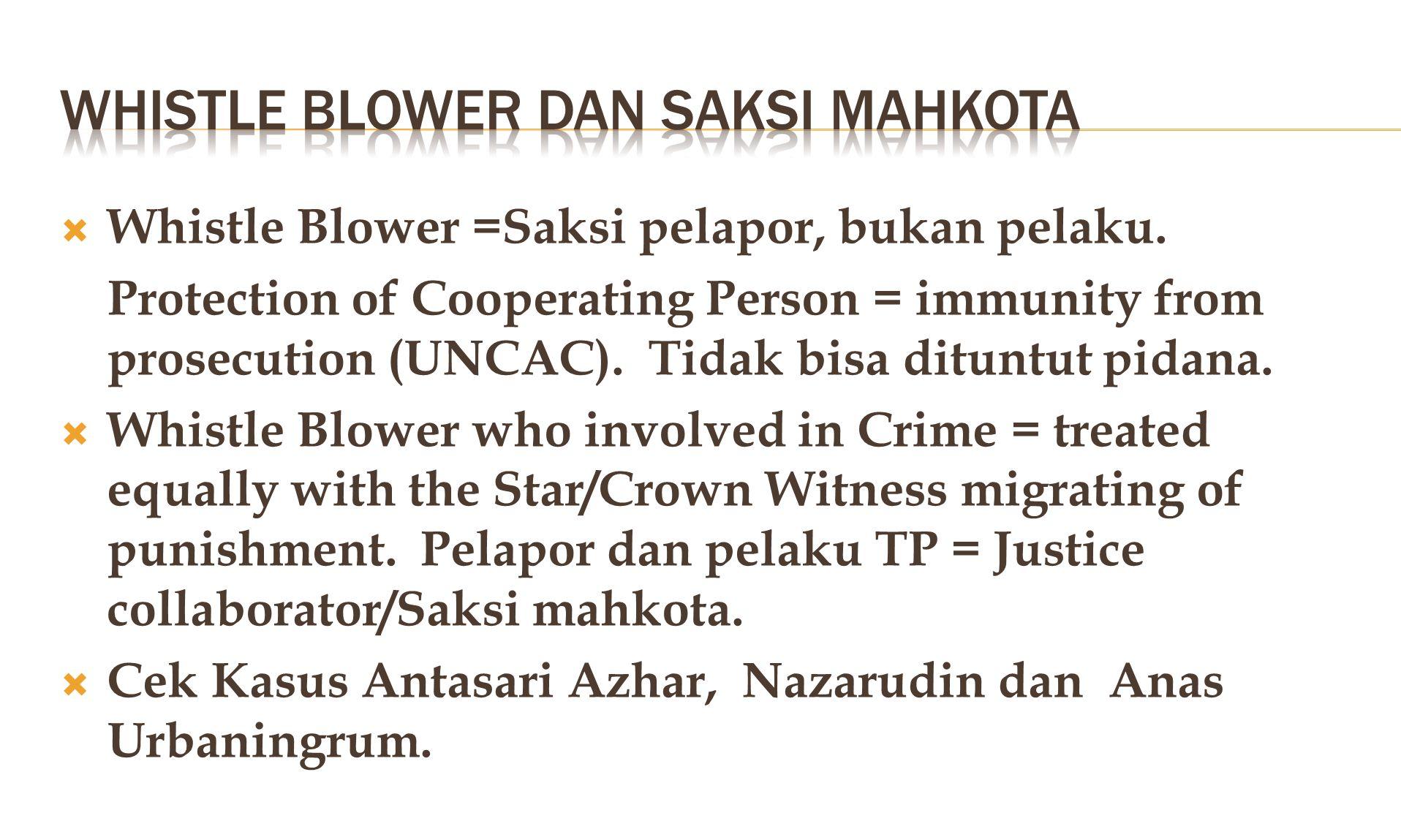Whistle blower DAN SAKSI MAHKOTA