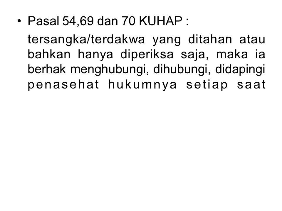 Pasal 54,69 dan 70 KUHAP :