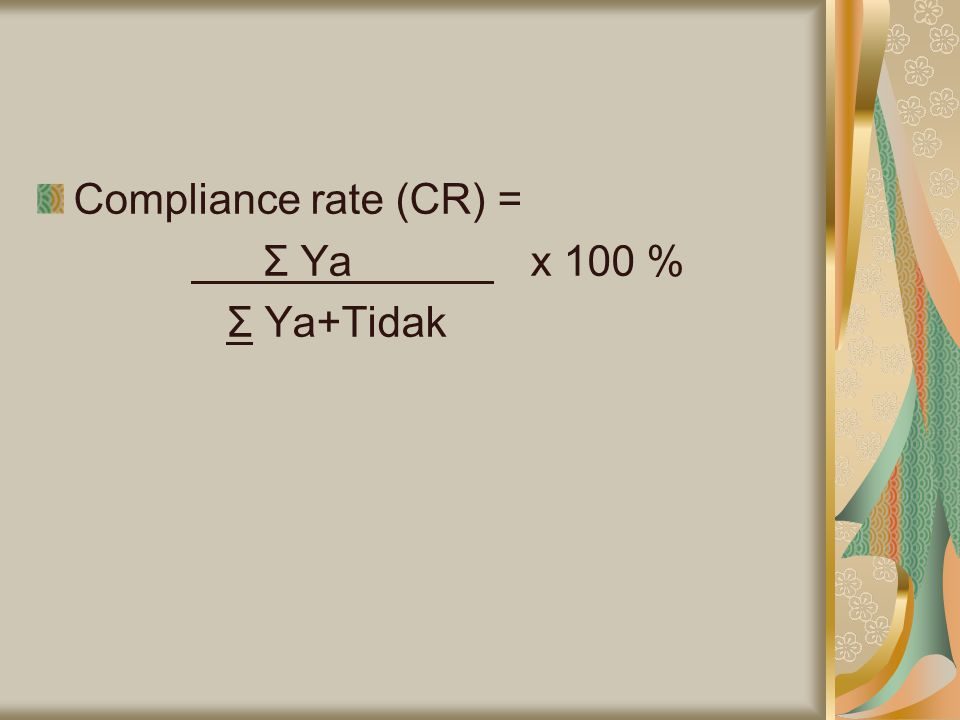 Compliance rate (CR) = Σ Ya x 100 % Σ Ya+Tidak