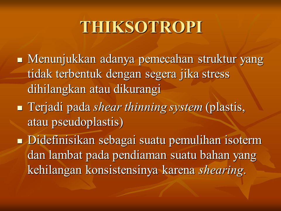 THIKSOTROPI Menunjukkan adanya pemecahan struktur yang tidak terbentuk dengan segera jika stress dihilangkan atau dikurangi.