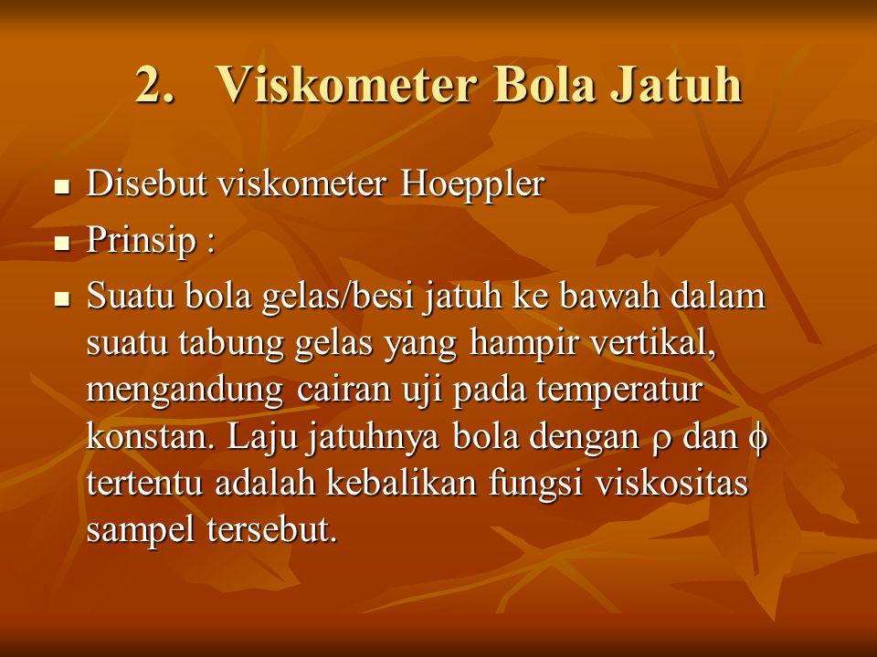 Viskometer Bola Jatuh Disebut viskometer Hoeppler Prinsip :