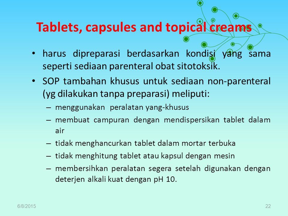 Tablets, capsules and topical creams