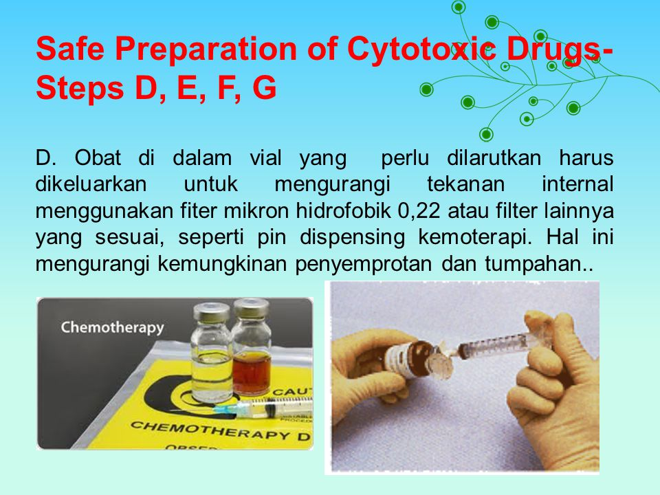 Safe Preparation of Cytotoxic Drugs- Steps D, E, F, G