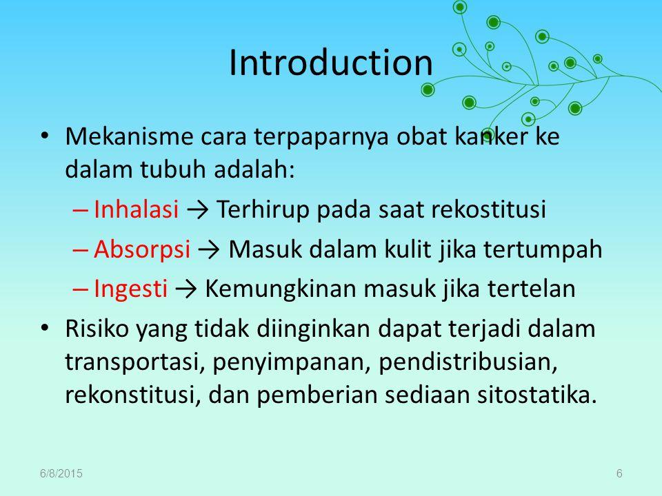 Introduction Mekanisme cara terpaparnya obat kanker ke dalam tubuh adalah: Inhalasi → Terhirup pada saat rekostitusi.
