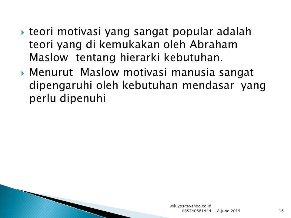 teori motivasi yang sangat popular adalah teori yang di kemukakan oleh Abraham Maslow tentang hierarki kebutuhan.