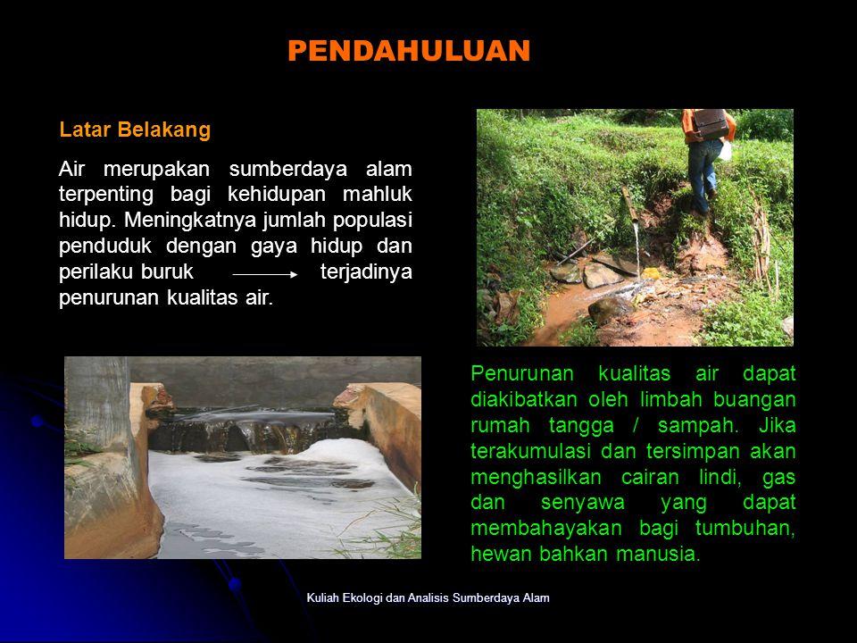 Kuliah Ekologi dan Analisis Sumberdaya Alam