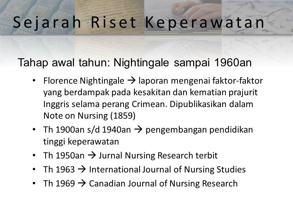 Sejarah Riset Keperawatan