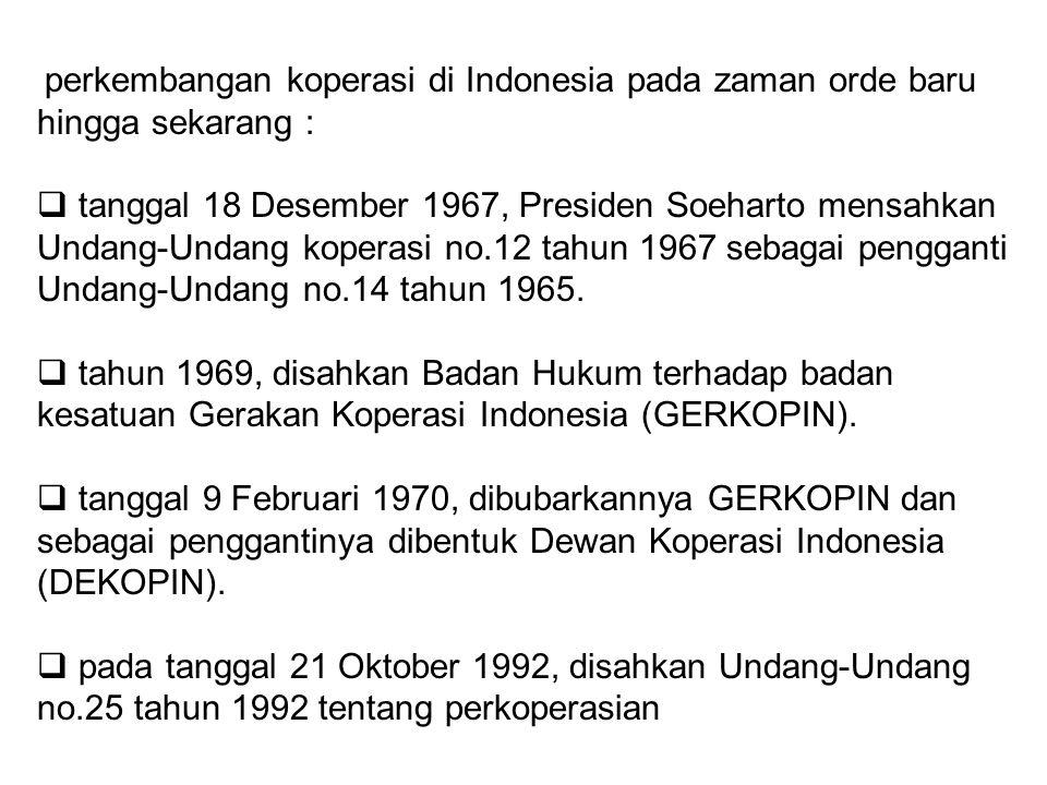 perkembangan koperasi di Indonesia pada zaman orde baru hingga sekarang :