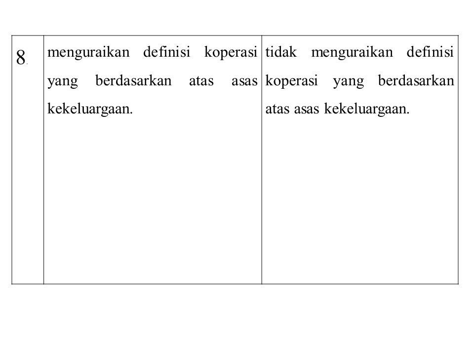 8. menguraikan definisi koperasi yang berdasarkan atas asas kekeluargaan.