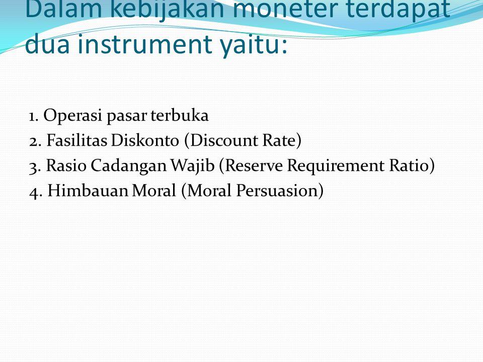 Dalam kebijakan moneter terdapat dua instrument yaitu: