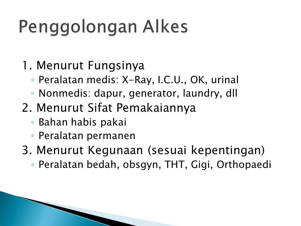 Penggolongan Alkes 1. Menurut Fungsinya 2. Menurut Sifat Pemakaiannya