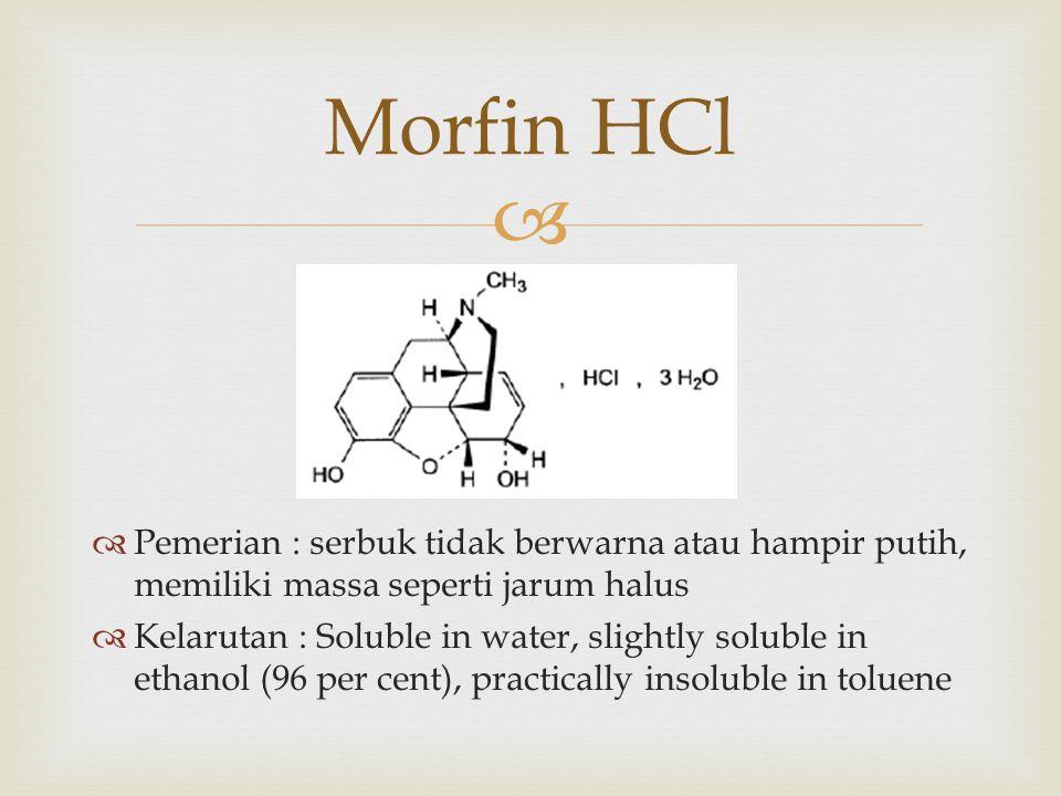 Morfin HCl Pemerian : serbuk tidak berwarna atau hampir putih, memiliki massa seperti jarum halus.