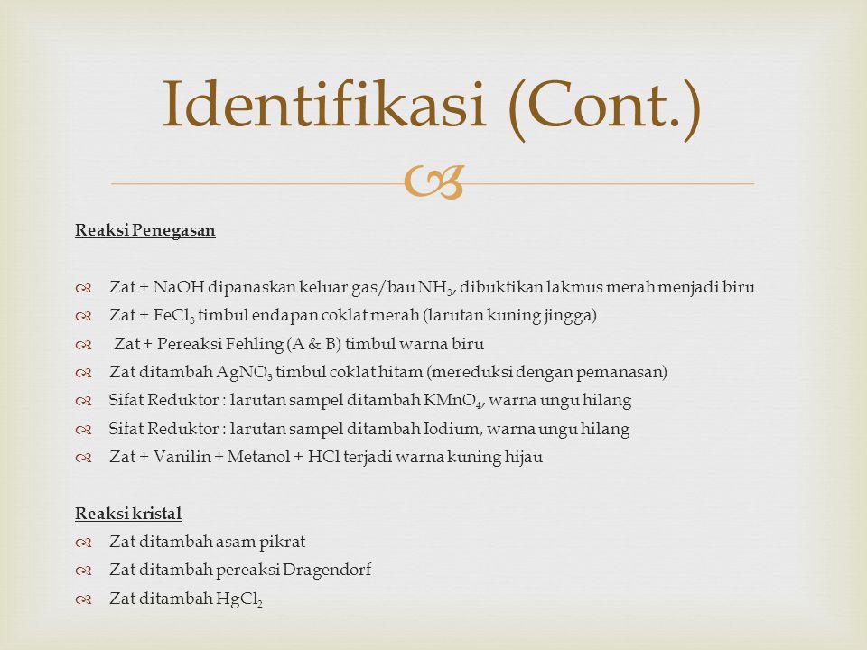 Identifikasi (Cont.) Reaksi Penegasan