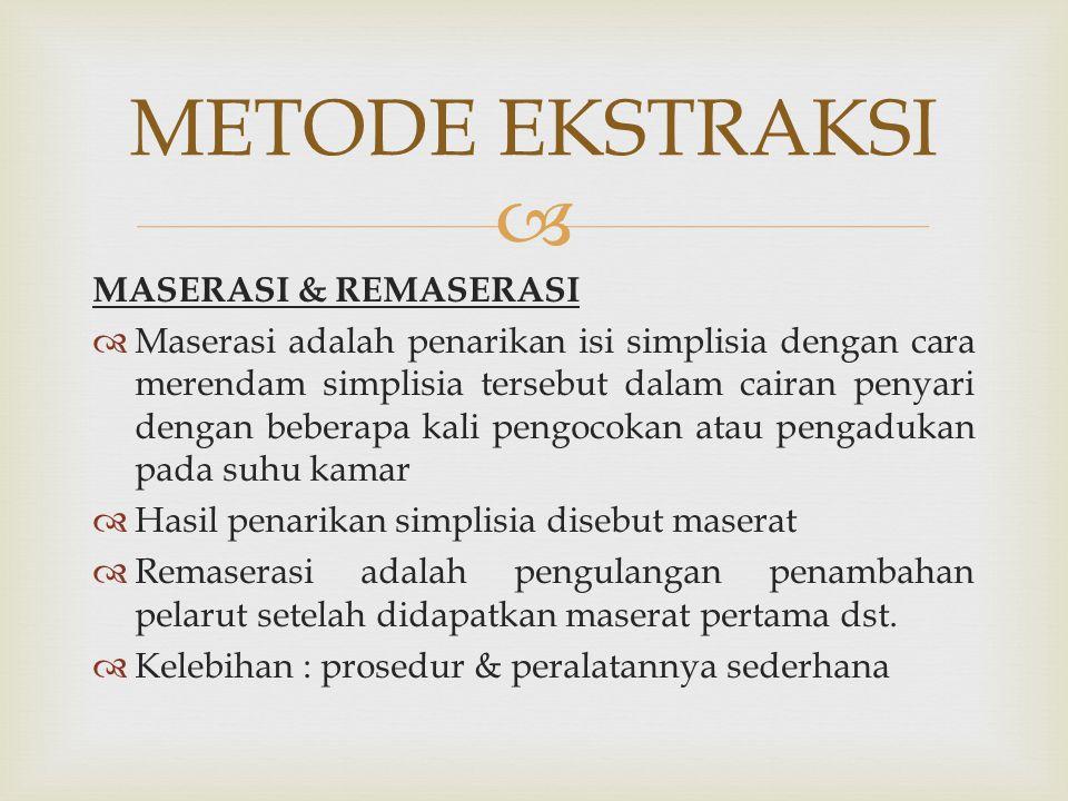 METODE EKSTRAKSI MASERASI & REMASERASI