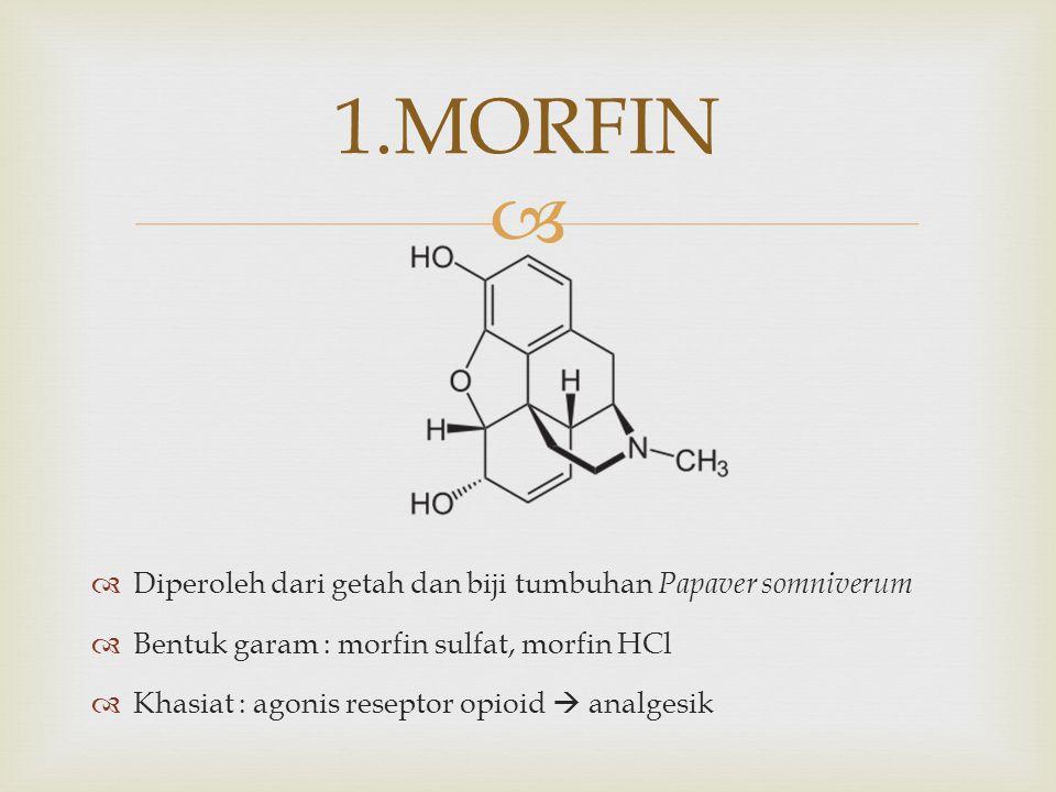 1.MORFIN Diperoleh dari getah dan biji tumbuhan Papaver somniverum