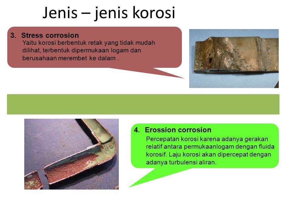 Jenis – jenis korosi Stress corrosion Erossion corrosion