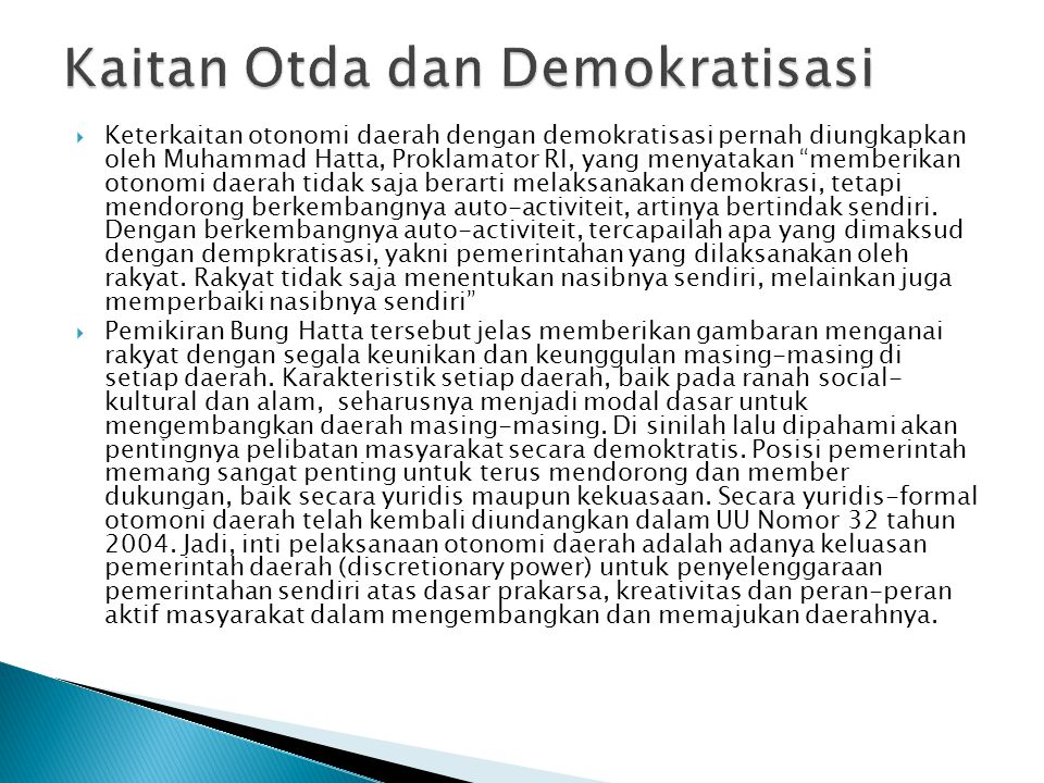 Kaitan Otda dan Demokratisasi